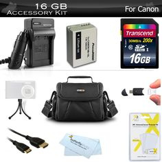 """16GB Accessories Bundle Kit For Canon PowerShot SX50 HS, SX40 HS, SX60 HS G1 X, G15, G16, G3 X Digital Camera Includes 16GB High Speed SD Memory Card + Replacement NB-10L Battery + Charger + More. USB 2.0 Secure Digital Slim Card Reader/Writer + ButterflyPhoto Micro Fiber Cleaning Cloth + Mini Tabletop Tripod. (6FT) HDMI Male to Mini HDMI (Type C) - Connect Your Camera / Camcorder Directly To Your HDTV + Deluxe Universal 5"""" LCD Screen Protectors. 16GB (SDHC) High-Speed 150x Class 6 Memory..."""