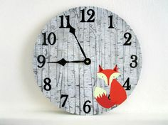 Rustic Wall Clock  Fox in Birch Trees  by GoldenDaysDesigns
