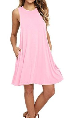AUSELILY Women s Sleeveless Pockets Casual Swing T-shirt Dresses (XL Pink) c0c2638cc