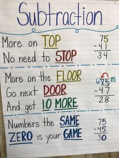 Subtraction tricks teaching math, teaching subtraction, teaching tips, maths tricks, math tips Math Anchor Charts, E Mc2, 3rd Grade Math, 2nd Grade Rules, Grade 2, Second Grade, Homeschool Math, Curriculum, Math Lessons