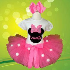 *Girls Pink Puffs Minnie Mouse Personalized Tutu Set