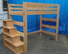 Pesado deber de sólida madera Loft cama 1000 libras de capacidad de peso con escaleras (USM)