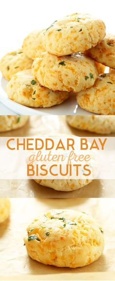 Light and flaky, super simple Gluten Free Cheddar Bay Biscuits. They taste just like the famous Red Lobster Biscuits. Perfect for any meal! (Gluten Free Recipes For Dinner) Gluten Free Diet, Foods With Gluten, Gluten Free Cooking, Easy Gluten Free Recipes, Lactose Free, Simple Recipes, Light Recipes, Cheddar Bay Biscuits, Drop Biscuits