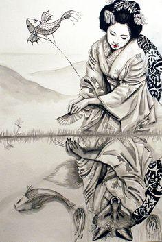 Kitsune - The Fox Woman ~segdavinci . . . . ღTrish W ~ http://www.pinterest.com/trishw/ . . . . #art #illustration