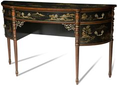 Sideboard Scarborough House Black Lacquered Chinoiserie Demilune, Brass Accents #Furniture #Sideboard