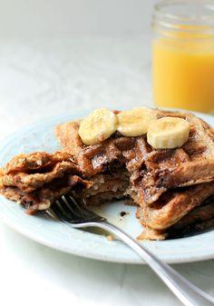 Whole Wheat Coconut Banana Waffles with dark chocolate & roasted almonds