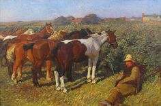 Sir Alfred Munnings KCVO, PRA (1878 –1959) Ponies at a Fair Oil on canvas Signed & Dated 1905