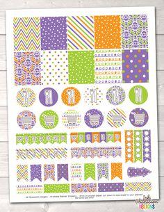 Purple Orange Green Printable Planner Stickers Weekly Kit – Instant Download PDF for your Erin Condren Life Planner