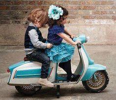 In due è più bello. #Vespa . Thats a mini Lammy! That's so cute!