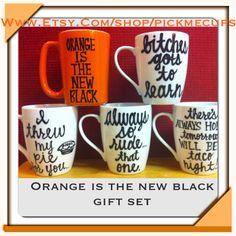 Orange is the new black - gift set of 5 mugs- oitnb  piper chapman ithrew my pie for you fans of oitnb