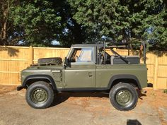 """63000 miles with new spray job and full years MOT. LandRover Defender Wolf Military spec """"Known as a Defender on steroids"""" · RHD Wolf 90 300Tdi Soft Top EX MOD. 300Tdi engine, 5 speed R380 gearbox, Hi/Low transfer box with centre diff lock. Internal roll-over protection system.&"""