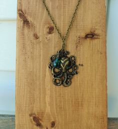 Steampunk Octopus Teal Gem Necklace ONly $10 plus shipping on Etsy!