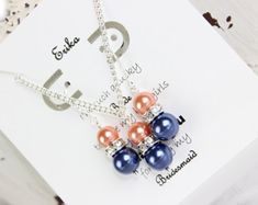 Bridesmaid Gift Navy Blue and Coral Pearl Bridesmaid Jewelry Set Bridesmaid Jewelry, Wedding Jewelry FREE Personalized Jewelry Card!!