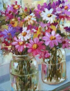 """Daily Paintworks - """"Field Flowers"""" by Libby Anderson"""