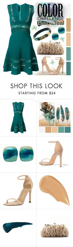 """Blue Lagoon"" by goldenopal ❤ liked on Polyvore featuring Elie Saab, Stuart Weitzman, NARS Cosmetics, lace, embroidered, artdeco, colorchallenge and beigeandteal"
