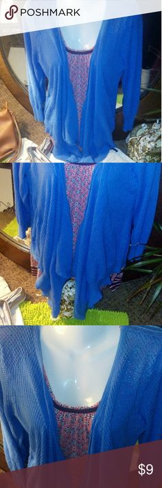 Lightweight Open Cardigan / XL 16-18 Woman's open style cardigan. Ultra lightweight sweater in a pretty sky blue color with lots of extra fabric in front for loose layered look. Also has 3/4 length sleeves. Faded Glory Sweaters Cardigans