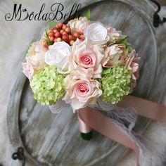 modabelle Handmade Ribbon Rose Pink Coral Wedding Bridal Bouquet Artificial Hand Holding Flower Bridesmaids Bouquet 2017