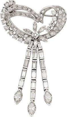 Diamond, Platinum Brooch. .
