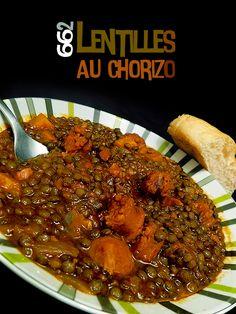 Lentilles au chorizo (Espagne) - casafabio.com Chorizo, Sausage, Cooking Recipes, Desserts, Gluten, Table, Diy, Recipes, Meat