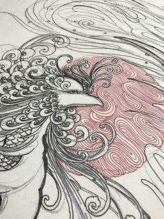Japanese Phoenix Tattoo, Illustration, Tatoo, Illustrations