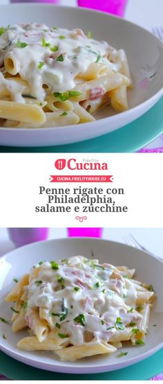 Penne rigate avec Philadelphie, salami et courgette Zucchini, Tasty, Yummy Food, Chicken Wing Recipes, Italian Pasta, Italian Recipes, Food Inspiration, Love Food, Cravings