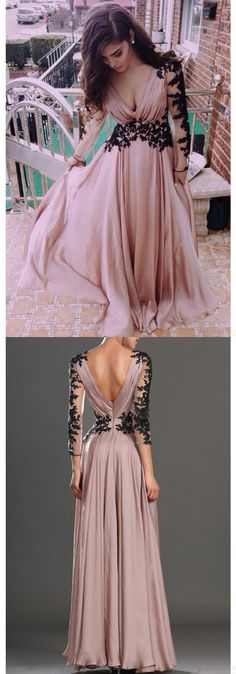 New Arrival Sexy V-neck Lace Long Sleeve Prom Gowns Party Evening Dresses