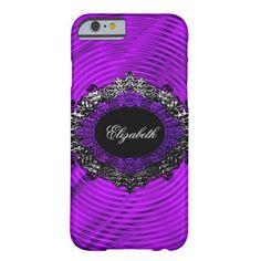 Purple Swirl Pattern Silver Elegant Classy Black Barely There iPhone 6 Case