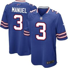 We know youre eager to get back to Sundays filled with hardhitting gridiron action, so give your fellow football enthusiasts an outstanding show of pride while you support your Buffalo Bills in this Game replica jersey from Nike. Inspired by the jersey given to quarterback E.J. Manuel, this spirited jersey features a tailored fit designed to facilitate movement, a notag neck label that offers clean comfort, strategic ventilation for breathability, bold contrast color detailing and team…