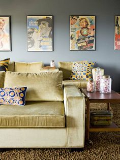 media room -- cozy couches and vintage posters