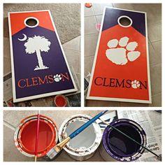 Cornhole boards I made for football season! GO TIGERS! #Clemson #cornholes #tailgates #southern