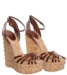Gucci Dark Brown Leather Studded Wedge from Profile Fashion