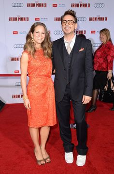 Susan and Robert Downey Jr at the premiere of Iron Man 3 in Hollywood.