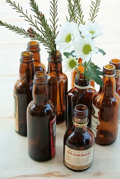 old beer bottles without labels, wrapped in burlap for center pieces??
