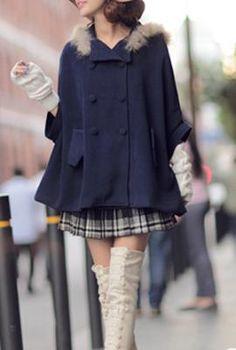 women Winter Solace Fur Trim Hooded Cape Coat Navy Blue jacket 11