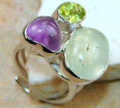 Shinning Green Sonet Peridot Quartz Sterling Silver ring s. 8