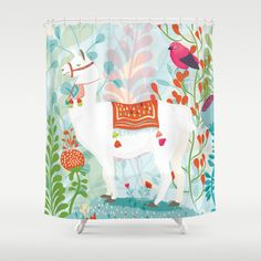 Llama Shower Curtain by lindseyeade – kids bathroom decor Alpacas, Kid Bathroom Decor, Bathroom Shower Curtains, Teen Bathrooms, Llama Decor, Curtain Rods, Bathroom Inspiration, Decoration, Craft Sale