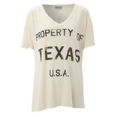Wildfox Property of Texas T-Shirt - Ghost Nude ($50) ❤ liked on Polyvore featuring tops, t-shirts, shirts, blusas, oversized tee, print t shirts, slogan t shirts, oversized v neck tee and oversized shirt