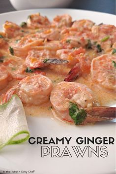 Tasty ginger prawns (shrimps) with warm aroma of ginger, mellow richness of silky cream, and mild fieriness from chilies and black pepper, - pure bliss! Fresh Coriander, Indian Food Recipes, Healthy Recipes, Easy Recipes, Top Recipes, Sweets Recipes, Snack Recipes, Snacks, Kitchens