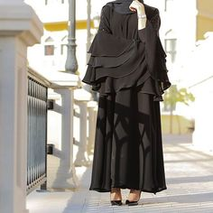 Abaya with four layer sleeves Rate 3500 Burqa Designs, Abaya Designs, Abaya Fashion, Muslim Fashion, Fashion Outfits, Fashion Shoot, Stylish Dress Designs, Stylish Dresses, Hijab Style Dress