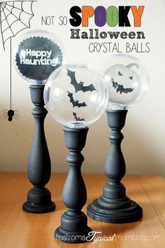 Halloween Crystal Balls DIY Decor These DIY Halloween Crystal Ball Candle Sticks are so fun to make and not so spooky for the little ones in your home. Halloween Prop, Dollar Store Halloween, Holidays Halloween, Halloween Crafts, Halloween Decorations, Halloween Stuff, Fall Decorations, Halloween Candles, Spooky Decor