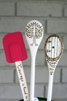 Lord of the Rings Themed Wooden Spoons by BlessingFalls  unique gift