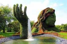 Montreal Botanical Garden, Montreal Picture: Beautiful living sculpture - Monkey - Check out Tripadvisor members' candid photos and videos of Montreal Botanical Garden Montreal Botanical Garden, Botanical Gardens, Waterfall Wallpaper, Of Montreal, Montreal Canada, Garden Fountains, Parcs, Types Of Plants, Summer Garden