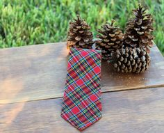 Christmas Boys Necktie  Adorable Cheery Red Plaid by becauseimme $16.00 Click here to buy now! PIN10 for 10% discount.