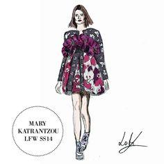 Favourite Looks of London Fashion Week, Mary Katrantzou SS14, illustration by Linda Leitner, www.lindaleitner.com