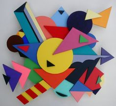 """""""Homage to Kandinsky"""" by Crystal Hover. Sculpture painting, cut foam board pieces and acrylic paints"""