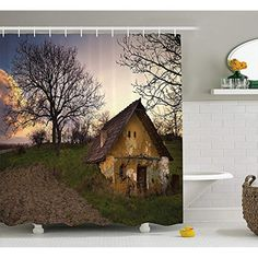 YVSXO Rustic Home Decor Shower Curtain, Battered Stone House in Field Messy Shed Building Provincial Pastoral Concept, Fabric Bathroom Decor Set with Hooks, 60W X 72L Inche, Multi ** Find out more about the great product at the image link. (This is an affiliate link) #showercurtainsets Bathroom Decor Sets, Shower Curtain Sets, Hooks, Image Link, Shed, Concept, Curtains, Rustic, Stone