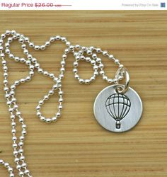 SALE Graduation- Hand stamped sterling silver hot air balloon necklace by tag youre it jewelry on etsy
