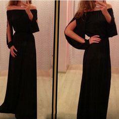 Zomer Vintage Empire Lange Floor Lengte Jurk Voor Vrouwen Zwart Slash Hals Vrouwen Jurk Mode Dameskleding S-XL