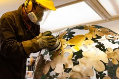 In my workshop in Gloucestershire England making a brass sphere sculpture Steel Sculpture, Garden Sculpture, David Murphy, Hydrangea Flower, Flowers, Sculptures, Workshop, England, Brass