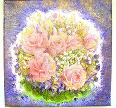 """Tableau collage """" Le Bouquet de Roses"""". de MATT et les Petits Cadeaux sur DaWanda.com"""